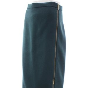 J. CREW WOOL SIDE ZIP MIDI SKIRT SIZE 14